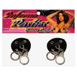 Leather pasties - round w/rivets & handcuffs