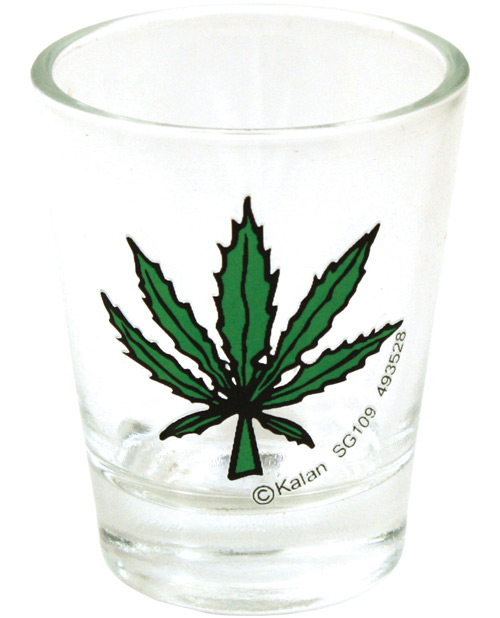 Pot Leaf Clear Shot Glass