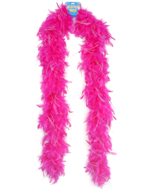 Feather Boa w/Tinsel - Pink