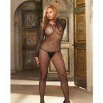 Fishnet long sleeved open crotch bodystockng black qn