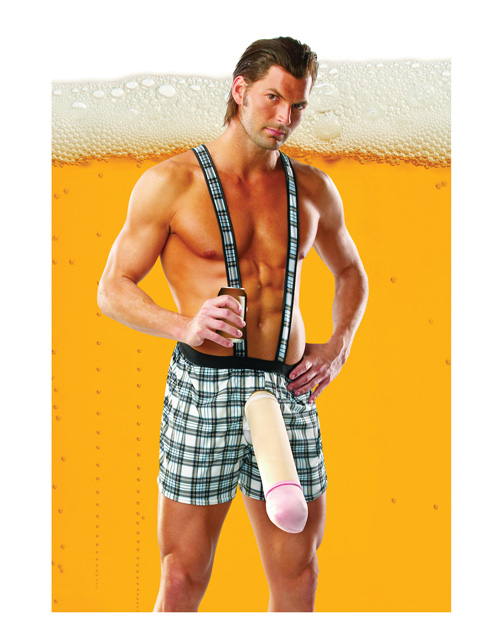 1 PC Beer Schlong - Plaid Suspender Shorts