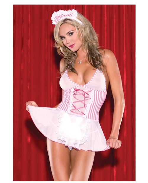 2 pc candy striper babydoll & headpiece pink o/s
