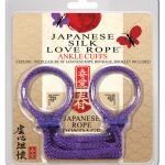 Japanese silk love rope ankle cuffs - purple