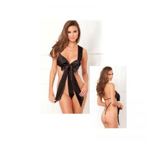 Unwrap Me Satin Bow Teddy Black M/L