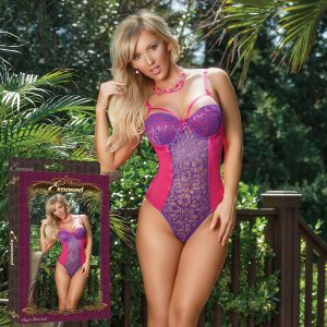 Sheer Passion Teddy with Snap Crotch Purple XL