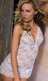 HALTER LACE CHEMISE - WHITE - O/S