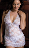 HALTER LACE CHEMISE - WHITE - QUEEN