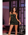 Die-cut microfiber & neon green lined strapless dress & thong bl