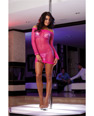 Honeycomb knit dress w/contrasting silver tri top & g-string pk