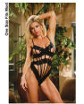 Lace thong back teddy w/straps black o/s