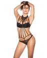 Eyelash Lace Teddy w/Padded Cups Black SM