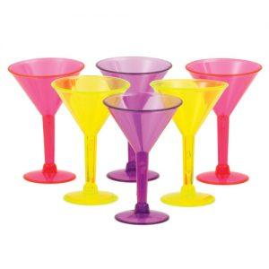 Martini Shot Glasses - Asst. Colors Pack of 6