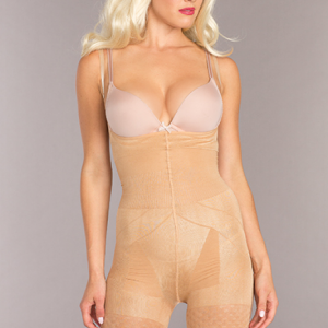 Mid-Thigh Crotchless Body Shaper - Nude - 3x/4x