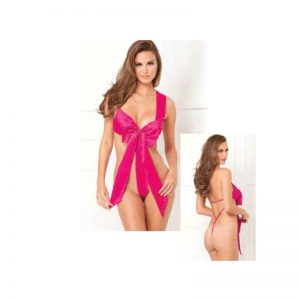 Unwrap Me Satin Bow Teddy Hot Pink S/M