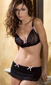 LACE AND RIBBON BRA AND SKIRT