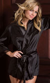 SATIN 3/4 SLEEVE ROBE WITH LACE TRIM - IVORY - L/XL