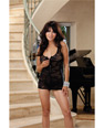 Stretch lace chemise w/front zipper & thong black o/s