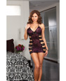 Stretch printed lace chemise lace strap detail & thong blk pr oq